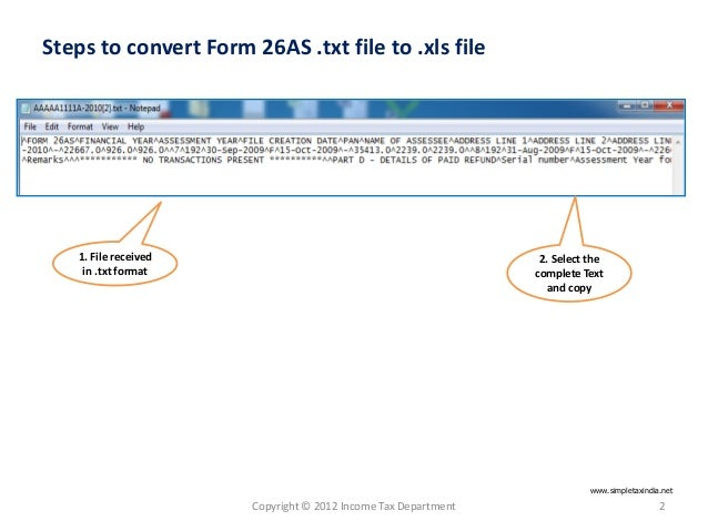E tutorial - convert form 26 as text file to excel
