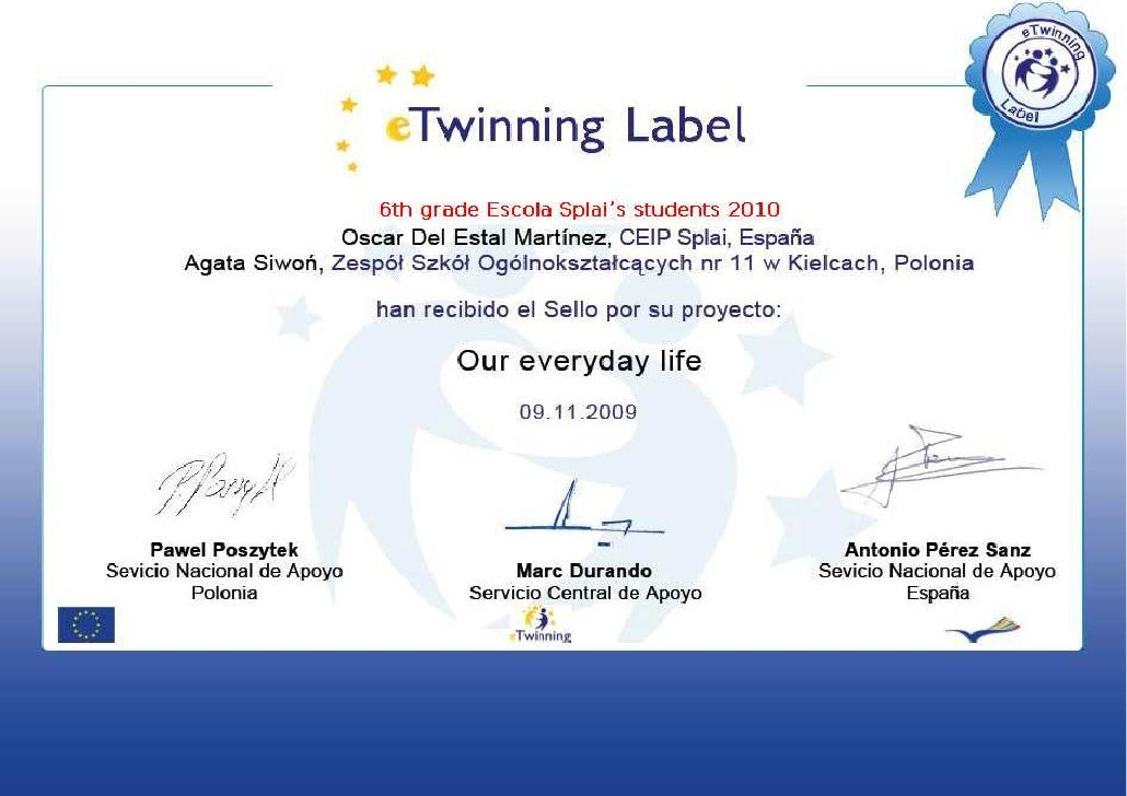 E twinning certificate 2010