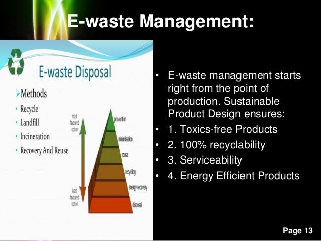 Powerpoint Templates Page 13 E-waste Management: • E-waste management starts right from the point of production. Sustainab...