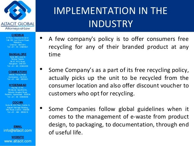 E waste management and handling rules, 2011