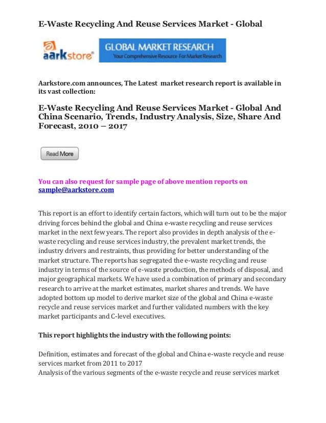 E-Waste Recycling And Reuse Services Market - GlobalAarkstore.com announces, The Latest market research report is availabl...