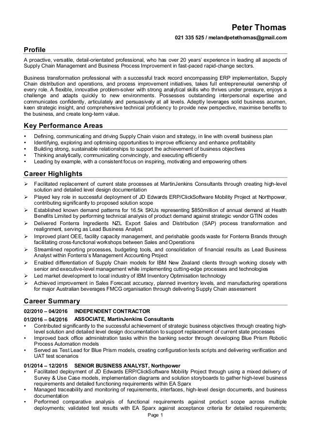 Page 1 Peter Thomas 021 335 525 / melandpetethomas@gmail.com Profile A proactive, versatile, detail-orientated professiona...