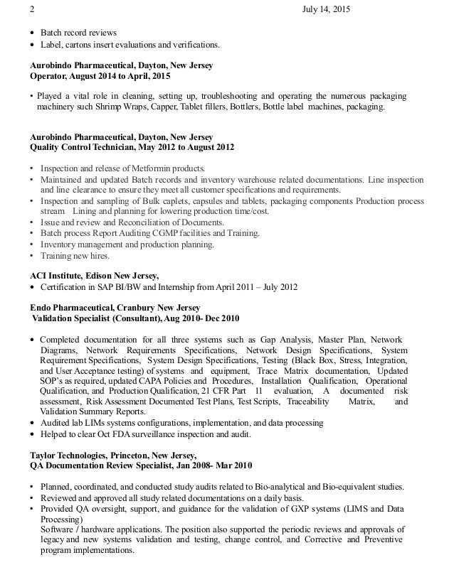 Quality Assurance Auditor Resume