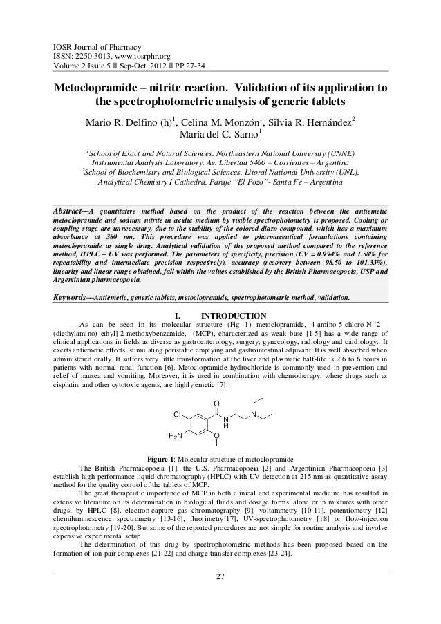 IOSR Journal of PharmacyISSN: 2250-3013, www.iosrphr.orgVolume 2 Issue 5 ‖‖ Sep-Oct. 2012 ‖‖ PP.27-34Metoclopramide – nitr...