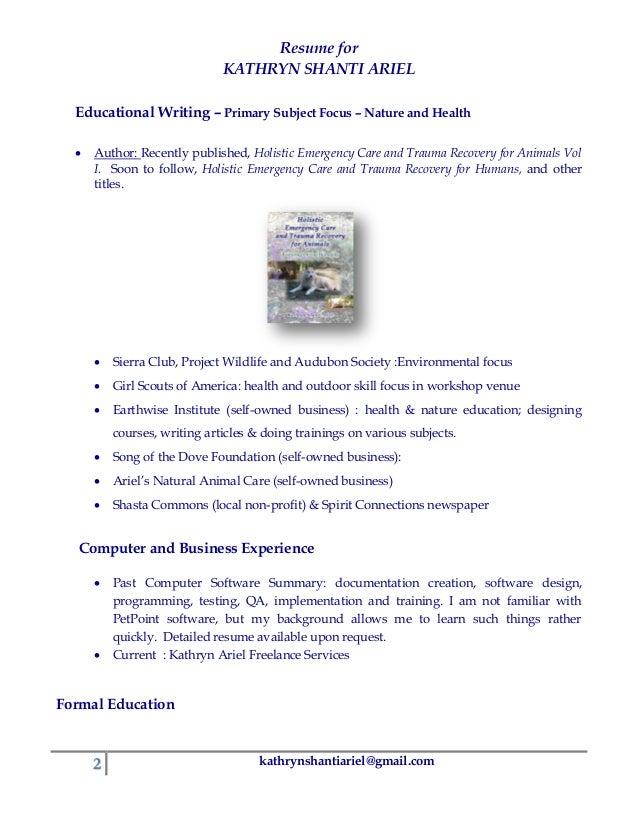 Animal Care Education Resume - Animal care resume