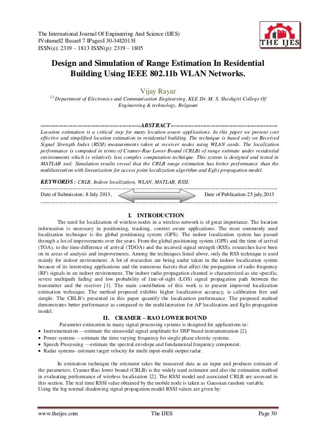 The International Journal Of Engineering And Science (IJES)   Volume  2   Issue   7   Pages   30-34  2013   ISSN(e): 2319 ...
