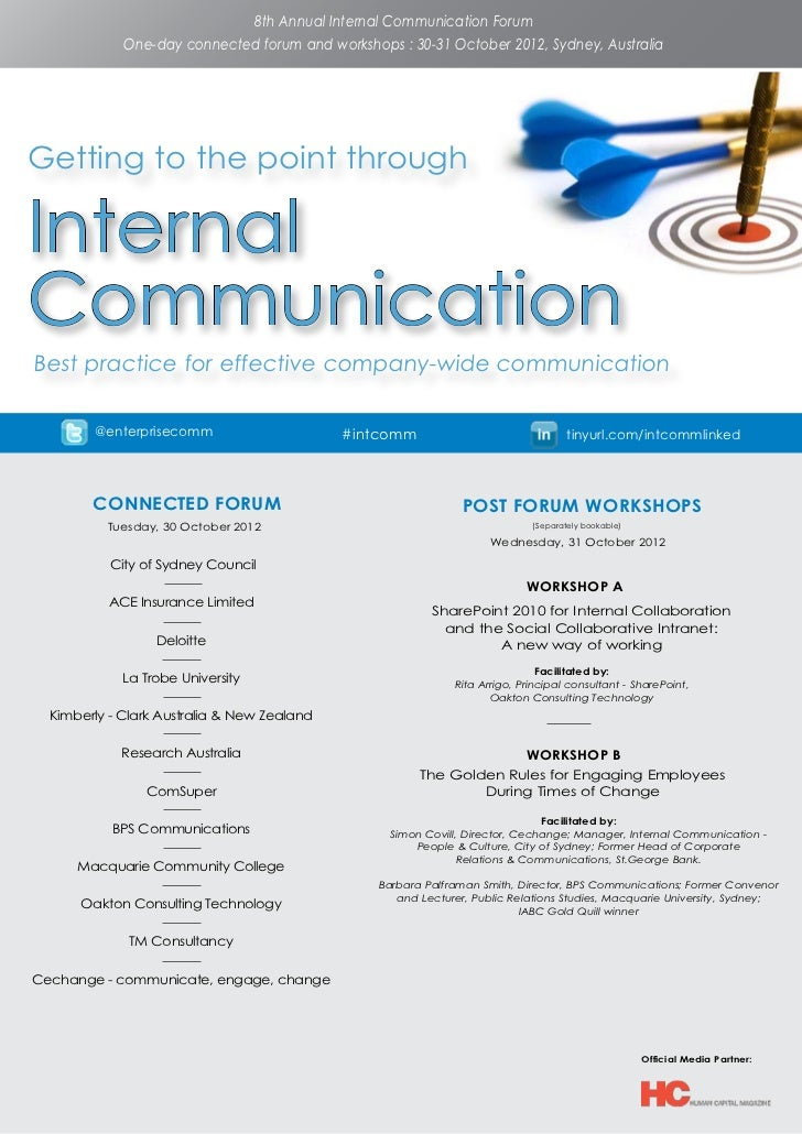 8th Annual Internal Communication Forum             One-day connected forum and workshops : 30-31 October 2012, Sydney, Au...