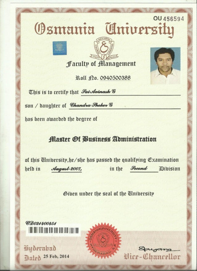 Convocation Certificate Mba