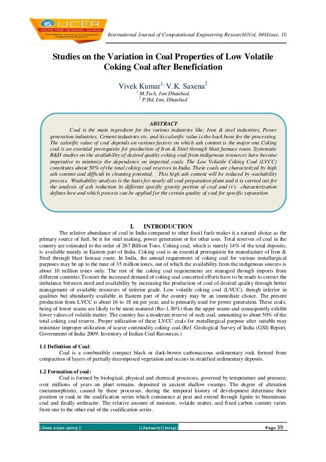 International Journal of Computational Engineering Research||Vol, 04||Issue, 1||  Studies on the Variation in Coal Propert...