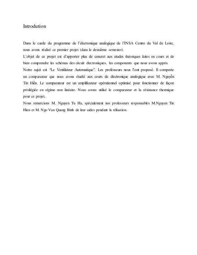 Introdution Dans le carde du programme de l'électronique analogique de l'INSA Centre du Val de Loire, nous avons réalisé c...
