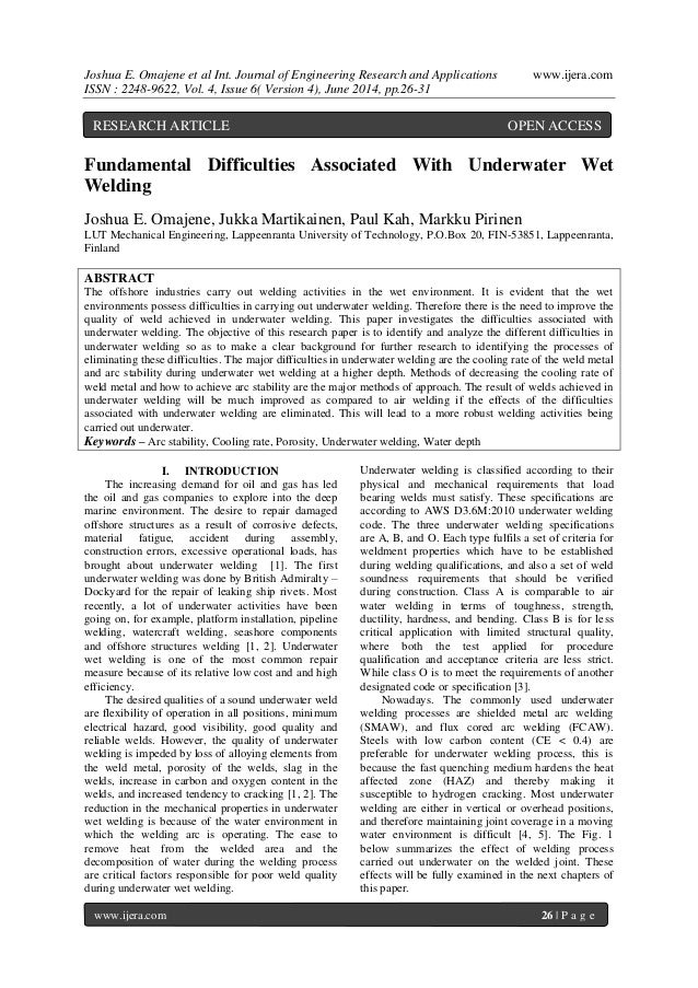 Joshua E. Omajene et al Int. Journal of Engineering Research and Applications www.ijera.com ISSN : 2248-9622, Vol. 4, Issu...