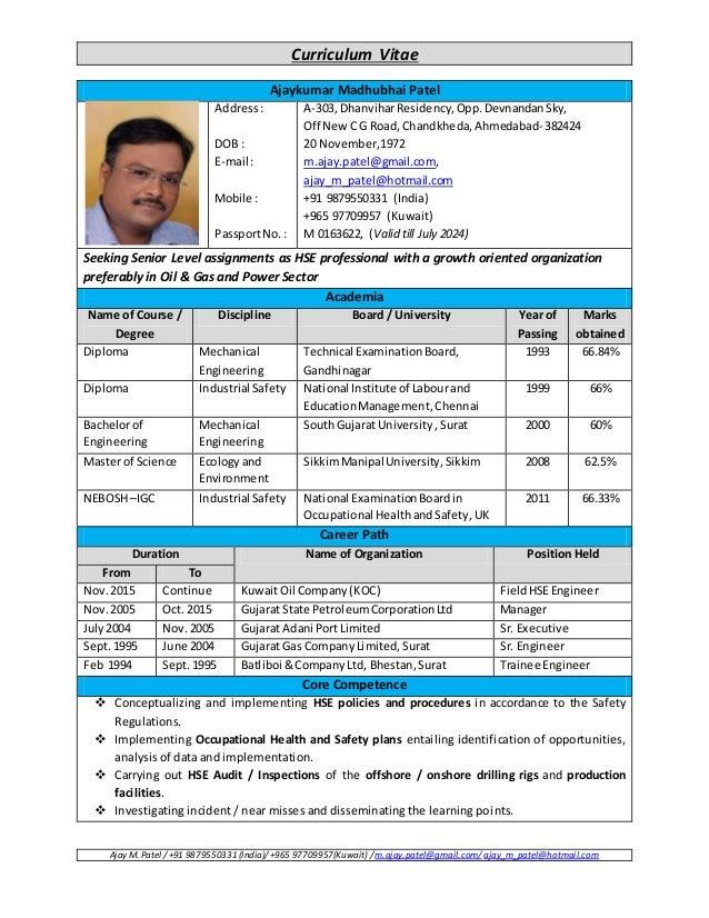Curriculum Vitae Ajay M. Patel / +91 9879550331 (India)/ +965 97709957(Kuwait) / m.ajay.patel@gmail.com/ ajay_m_patel@hotm...