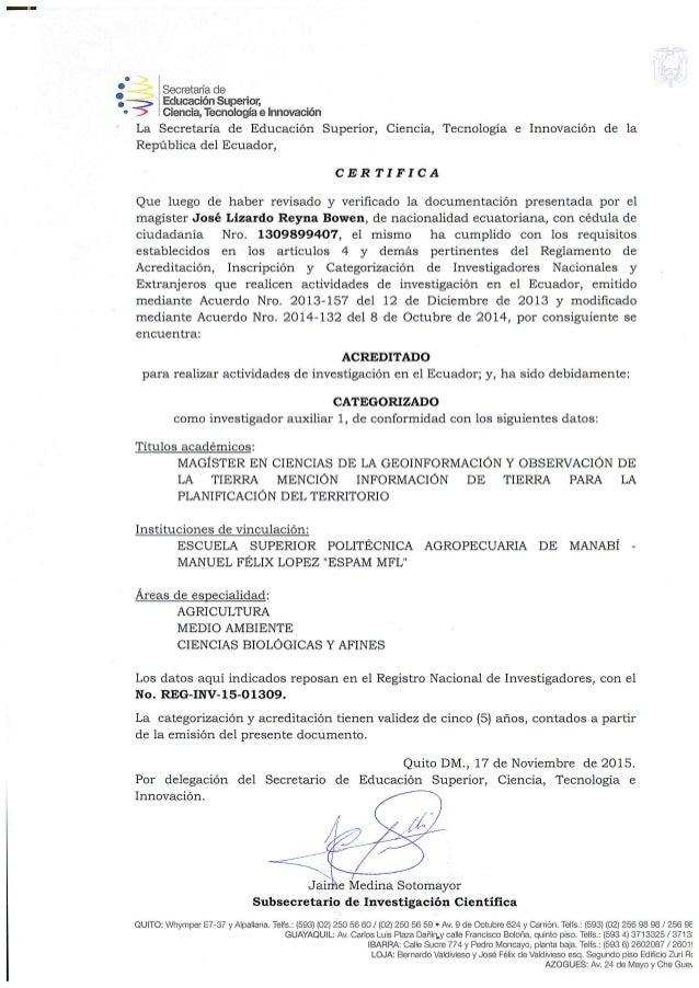certificacion del senecyt como investigador