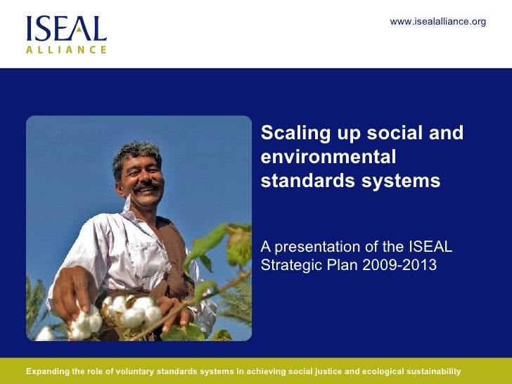 Scaling up social and environmental standards systems A presentation of the ISEAL Strategic Plan 2009-2013