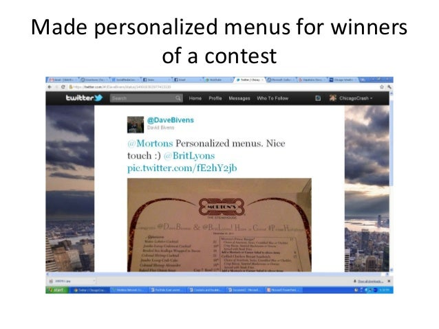 Made personalized menus for winners of a contest