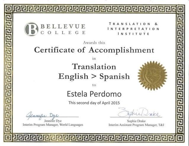 Bellevue College translation certificate