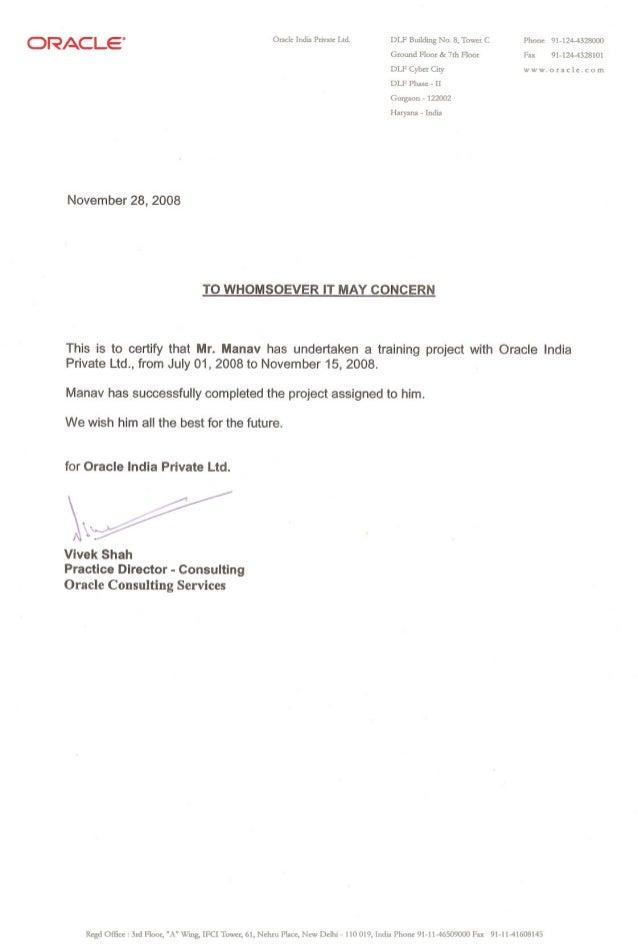 "ORACLE"" November 28, 2008 Oracle India Private Ltd. DLF Building No.8, Tower C Ground Floor & 7rh Floor DLF Cyber City DLF..."