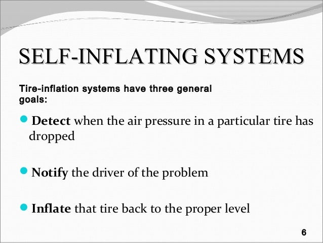 SELF-INFLATINGSELF-INFLATING SYSTEMSSYSTEMS Detect when the air pressure in a particular tire has dropped Notify the dri...