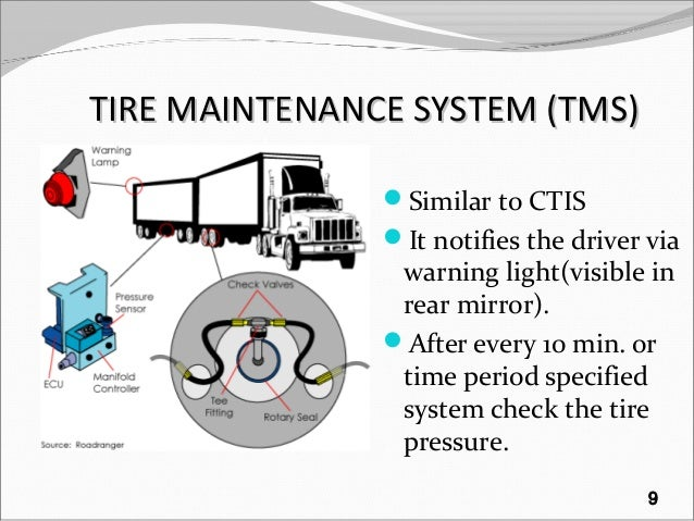 TIRE MAINTENANCE SYSTEM (TMS)TIRE MAINTENANCE SYSTEM (TMS) Similar to CTIS It notifies the driver via warning light(visi...