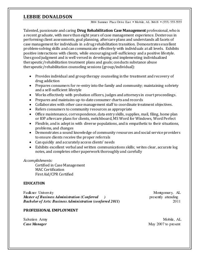 Resume Sample Drug Rehabilitation Case Manager