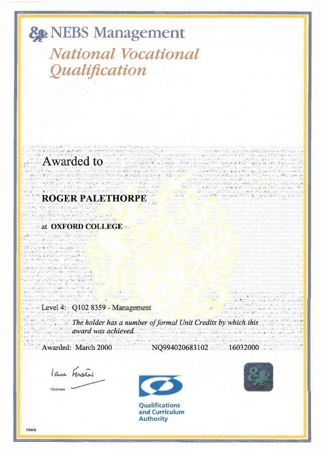 Certificate in Management level 4