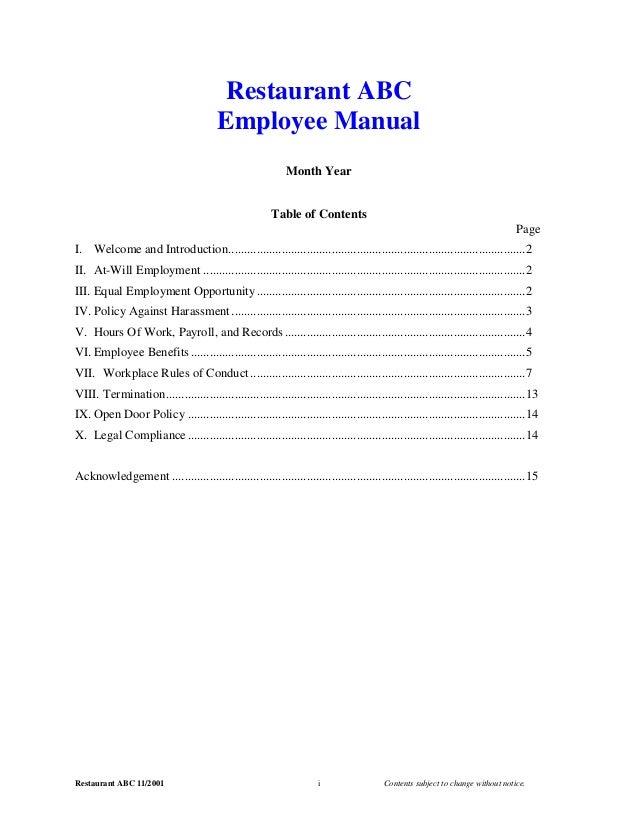 2001 employee manual.