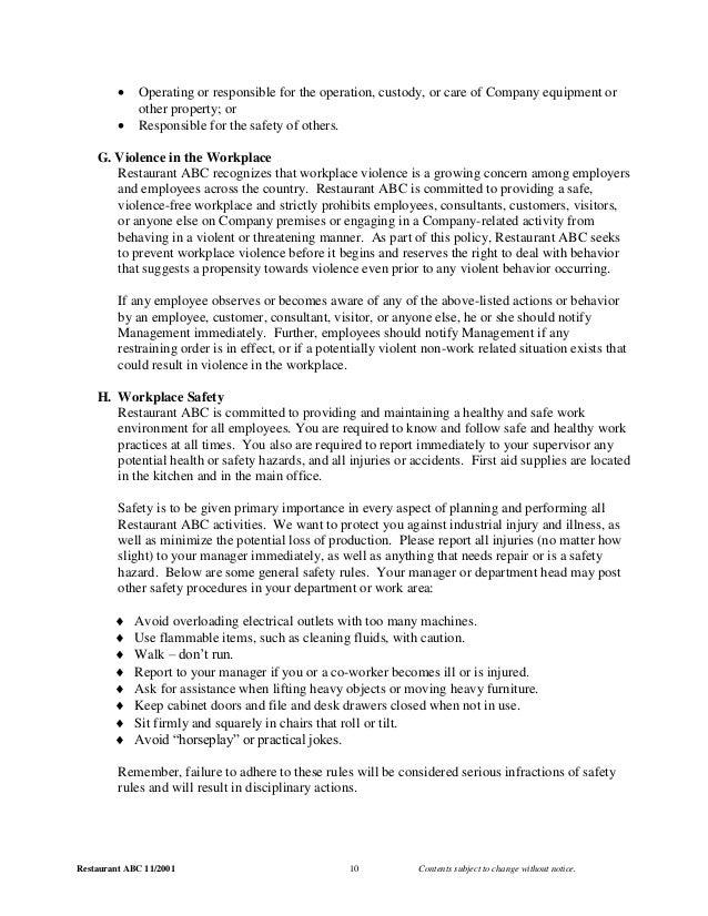Restaurant Kitchen Operations Manual 2001 employee manual