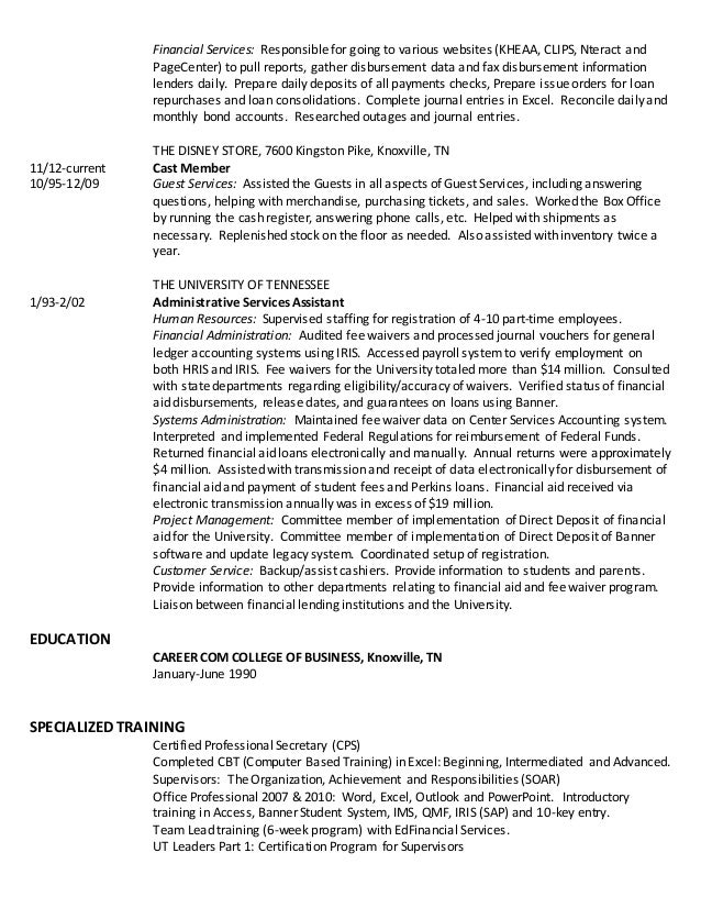 Resume for Donna K Collier