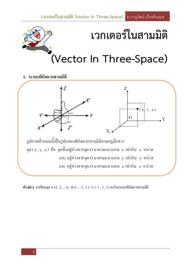 เวกเตอร์ในสามมิติ (Vector In Three-Space) อ.ภานุวัฒน์ เกียรตินฤมล 1 เวกเตอร์ในสามมิติ (Vector In Three-Space) 1. ระบบพิกัด...