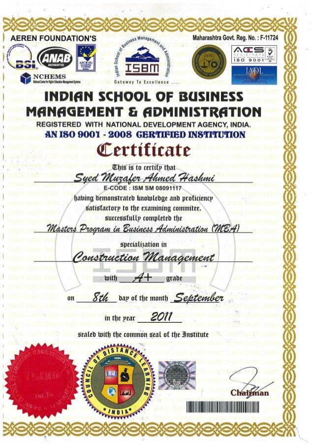 MBA-CONSTRUCTION MANAGEMENT