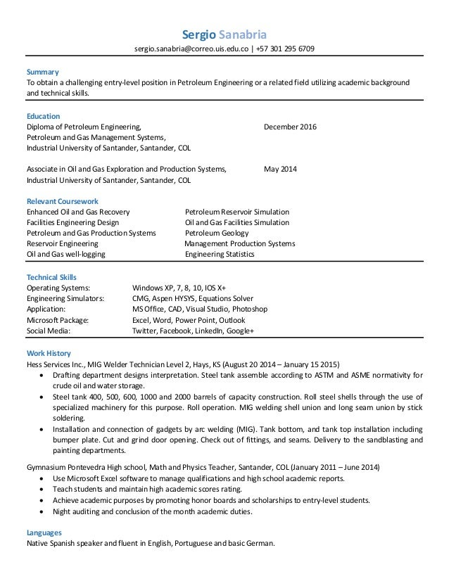 entry level resume coursework