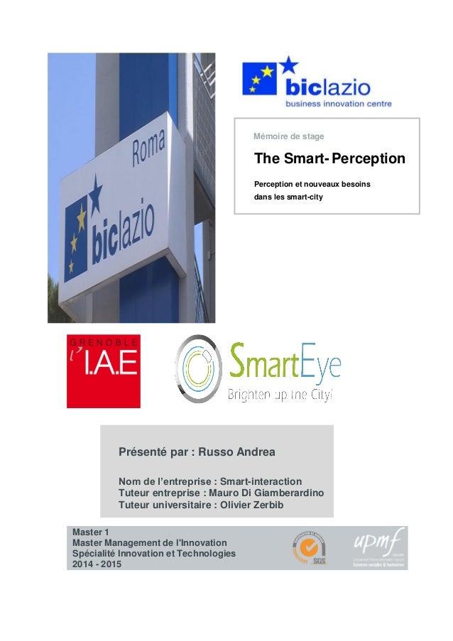 The Smart-Perception Perception et nouveaux besoins dans les smart-city Mémoire de stage Présenté par : Russo Andrea Nom d...