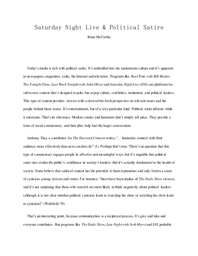 Example satire essay