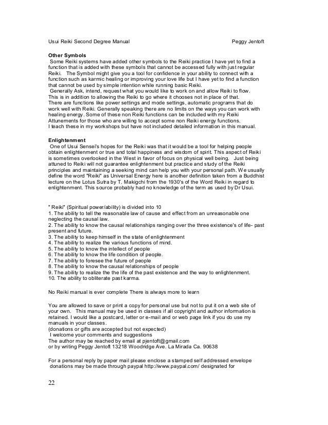 Reiki Level Two 2 Manual Peggy Jentoft