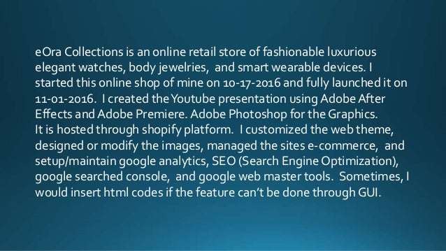 eOra Collections is an online retail store of fashionable luxurious elegant watches, body jewelries, and smart wearable de...