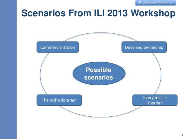 E: Scenario Planning Scenarios From ILI 2013 Workshop • Possible scenarios 7 Commercialisation Devolved ownership Everyone...