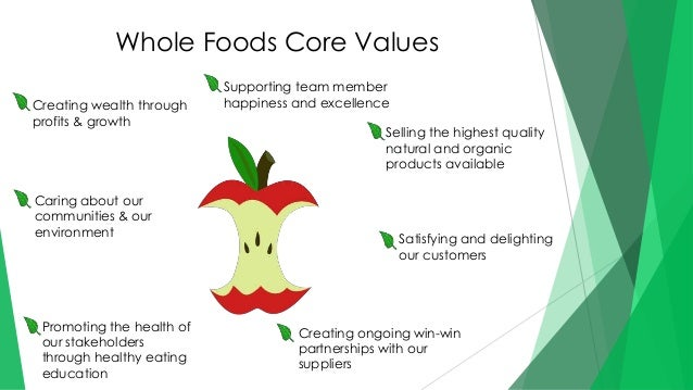 whole foods core values 2015-10-20 whole foods' core values, described in table , are an outreach of whole foods' mission statement whereas the mission statement provides a general direction,.