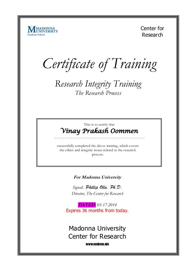 Certificate of Training This is to certify that Vinay Prakash Oommen …………………………………………………………… successfully completed the ab...