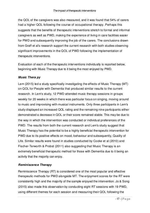 The impact of therapeutic interventions the QOL of the caregivers was also measured, and it was found that 54% of carers h...