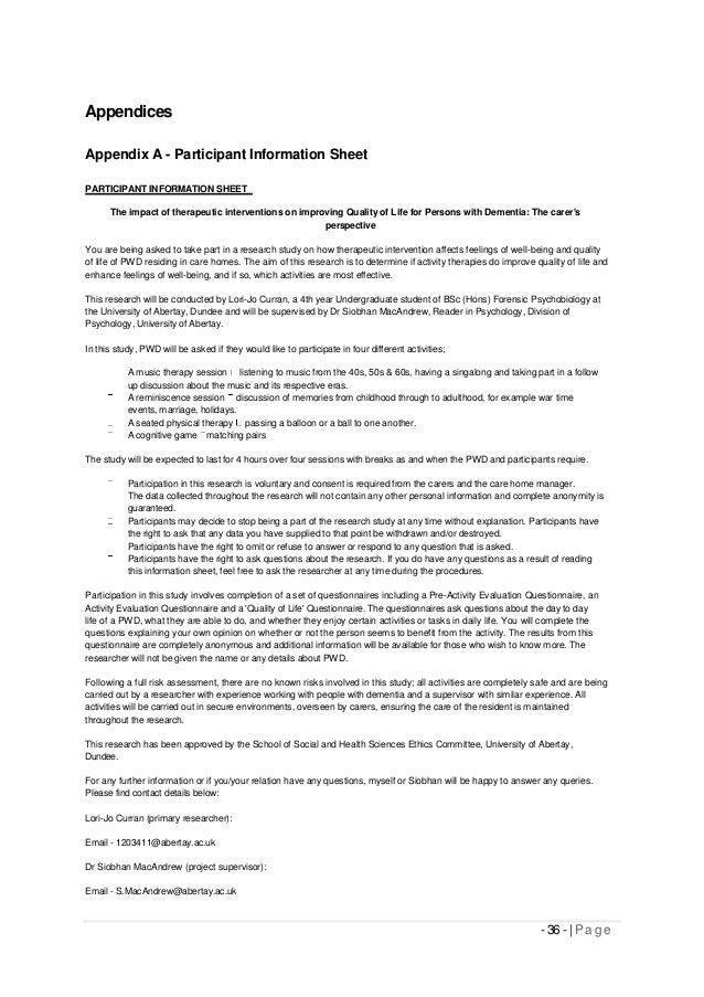 Appendices Appendix A - Participant Information Sheet PARTICIPANT INFORMATION SHEET The impact of therapeutic intervention...