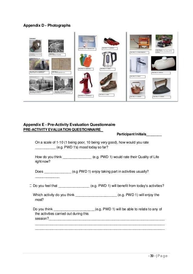 Appendix D - Photographs Appendix E - Pre-Activity Evaluation Questionnaire PRE-ACTIVITY EVALUATION QUESTIONNAIRE Particip...
