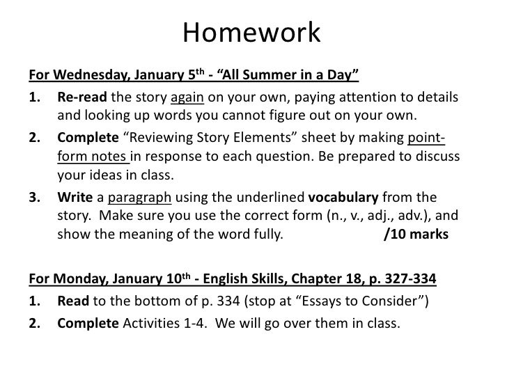 "e dec   7 homework<br >for wednesday 5th ""all summer in a"