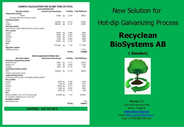 New Solution for Hot-dip Galvanizing Process Recyclean BioSystems AB ( Sweden) Chimtec LTD 128 bld.Primorski Polk Varna , ...