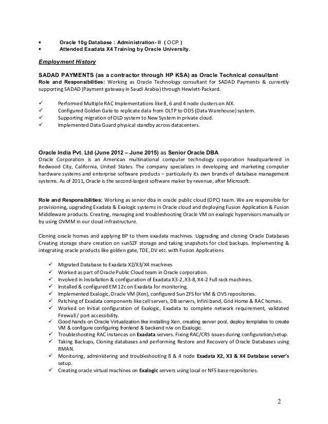 Exadata Dba | Resume CV Cover Letter