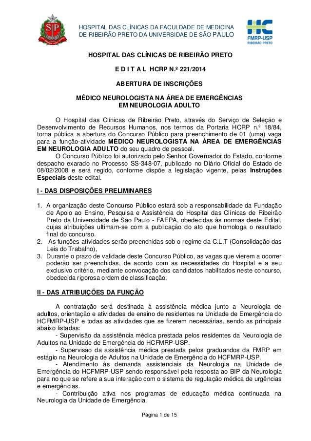 Página 1 de 15 HOSPITAL DAS CLÍNICAS DA FACULDADE DE MEDICINA DE RIBEIRÃO PRETO DA UNIVERSIDAE DE SÃO PAULO HOSPITAL DAS C...