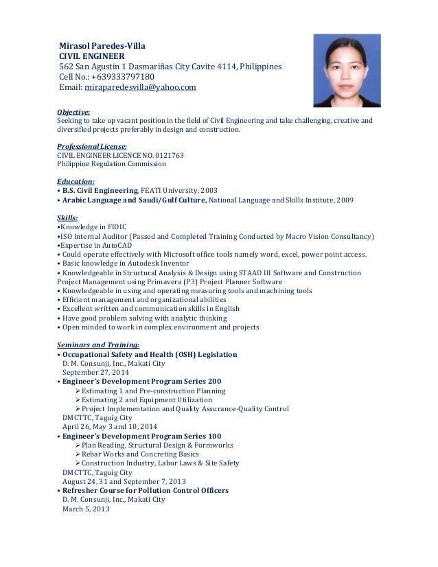 mirasol-resume-101414-1-638 Contoh Curriculum Vitae Project Manager on kerja pertambangan, pertambang pindah perusahaan, riwayat hidup lengkap, kata motivasi yang ada di,