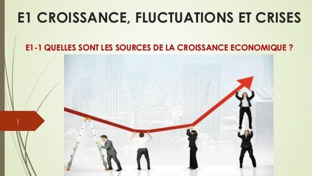 E1 CROISSANCE, FLUCTUATIONS ET CRISES  E1-1 QUELLES SONT LES SOURCES DE LA CROISSANCE ECONOMIQUE ?  1