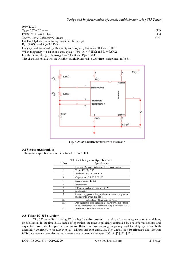 design and implementation of astable multivibrator using