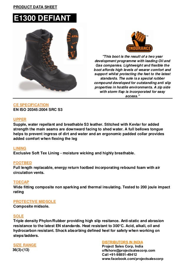"PRODUCT DATA SHEET  E1300 DEFIANT  ""This boot is the result of a two year development programme with leading Oil and Gas c..."