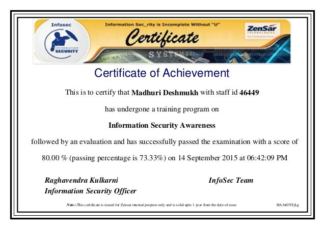 Information Security Awareness Certificate